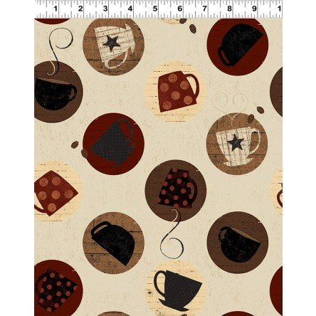 Cups on Cream Fabric Espresso Yourself Collection by Dan DiPaolo for Clothworks