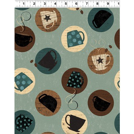Cups on Teal Fabric Espresso Yourself Collection by Dan DiPaolo for Clothworks