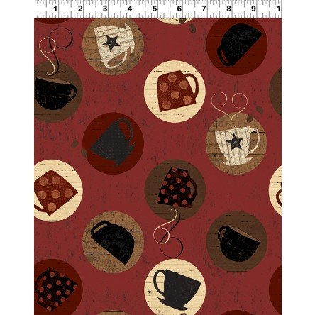 Cups on Rust Fat Quarter Espresso Yourself Collection by Dan DiPaolo for Clothworks