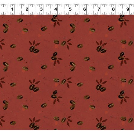 Beans on Rust Fat Quarter Espresso Yourself Collection by Dan DiPaolo for Clothworks