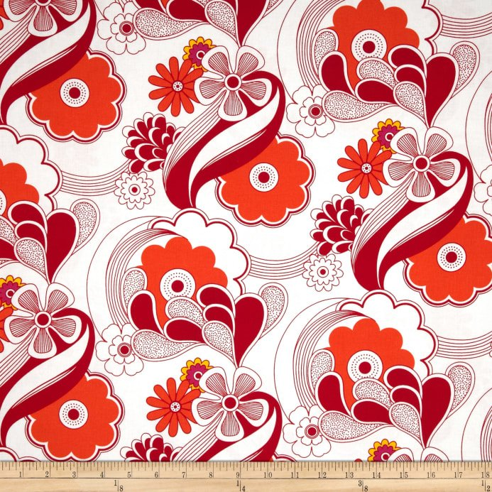 Auntie's Attic Canvas- Robert Kaufman- Abstract Floral- Red
