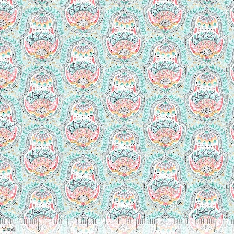 1 1/2 YARDS- Hill and Dale- Belle- Aqua- Ana Davis- Blend Fabrics
