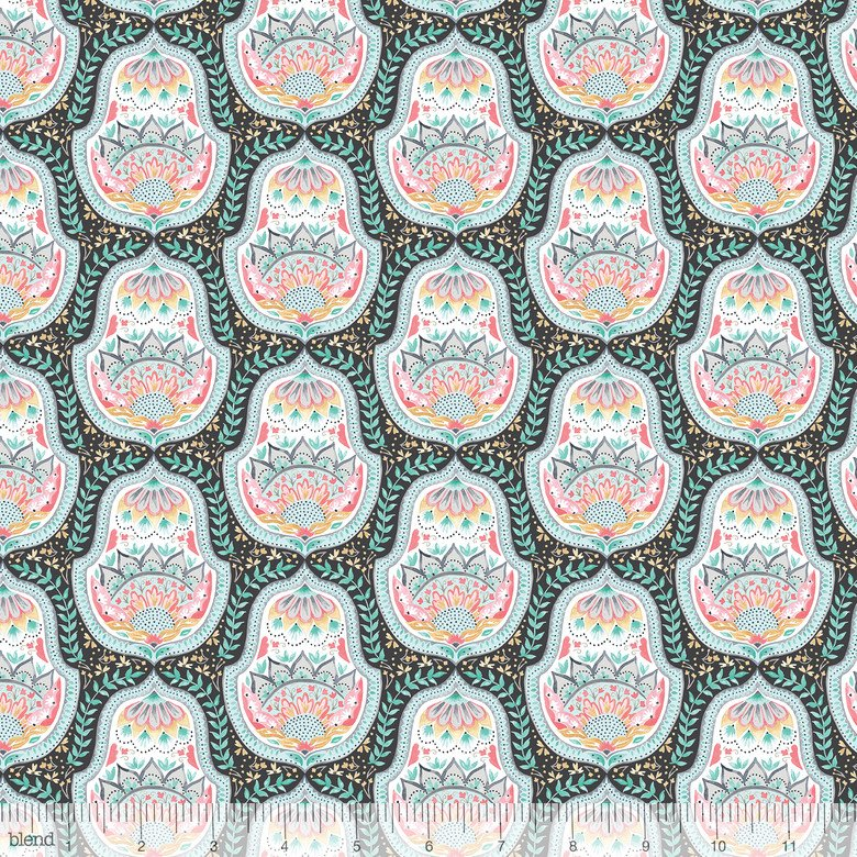 3/4 YARD- Hill and Dale- Belle- Grey- Ana Davis- Blend Fabrics