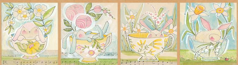 1/3 YARD PANEL- Promise of Spring- Tea With Bunny- Cori Dantini- Blend Fabrics