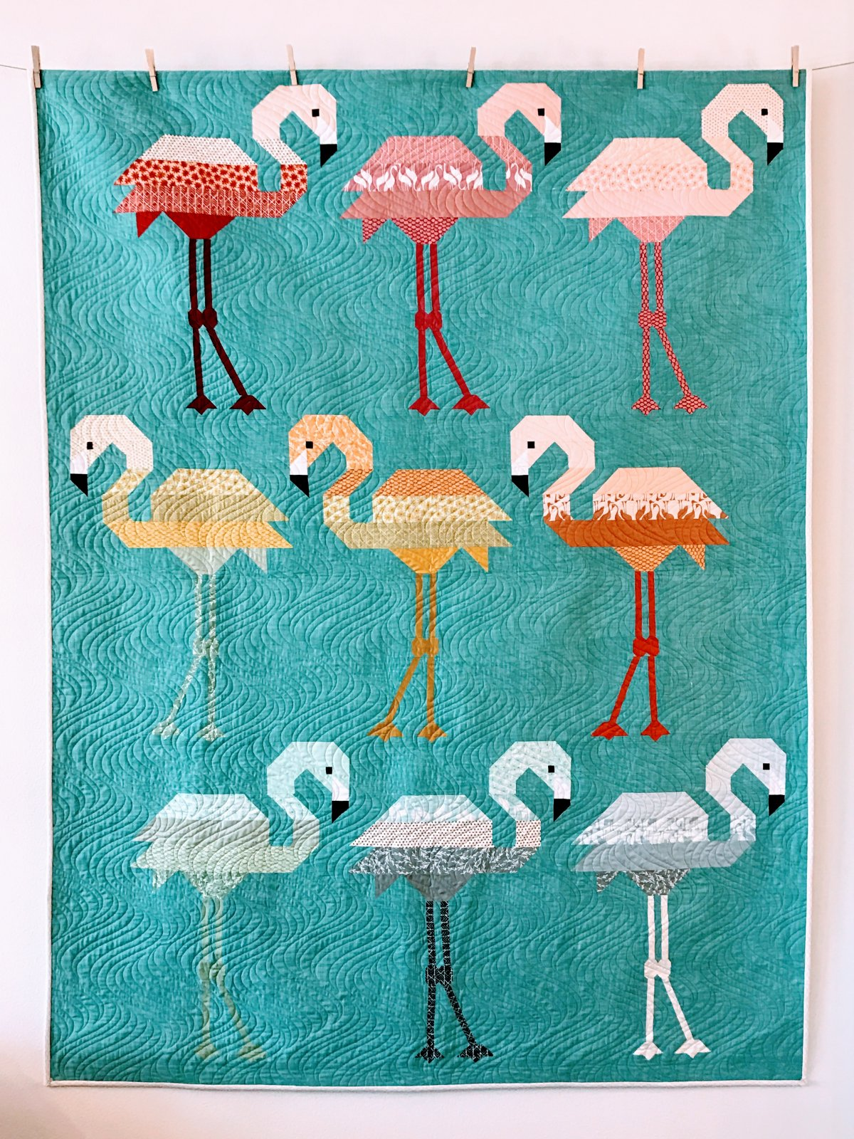 Florence Flamingo Quilt Kit- Peacock Background- Pond Fabric- Elizabeth Hartman- Robert Kaufman