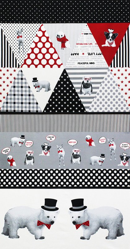 Happy Rooming- Small Panels/Bunting- Black/Gray (2/3 YARD CUT)