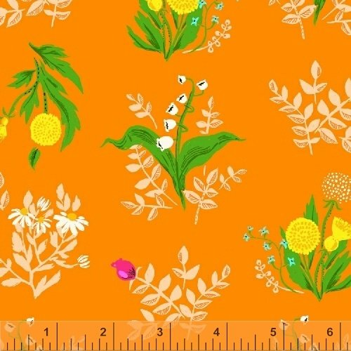 Sleeping Porch- Bouquet- Orange- Cotton Lawn- Heather Ross- Windham Fabrics
