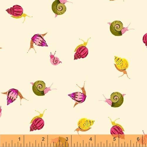 Sleeping Porch- Snails- Cream- Cotton Lawn- Heather Ross- Windham Fabrics