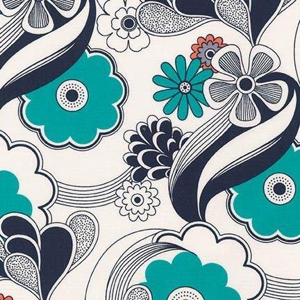 Auntie's Attic Canvas- Robert Kaufman- Abstract Floral- Navy