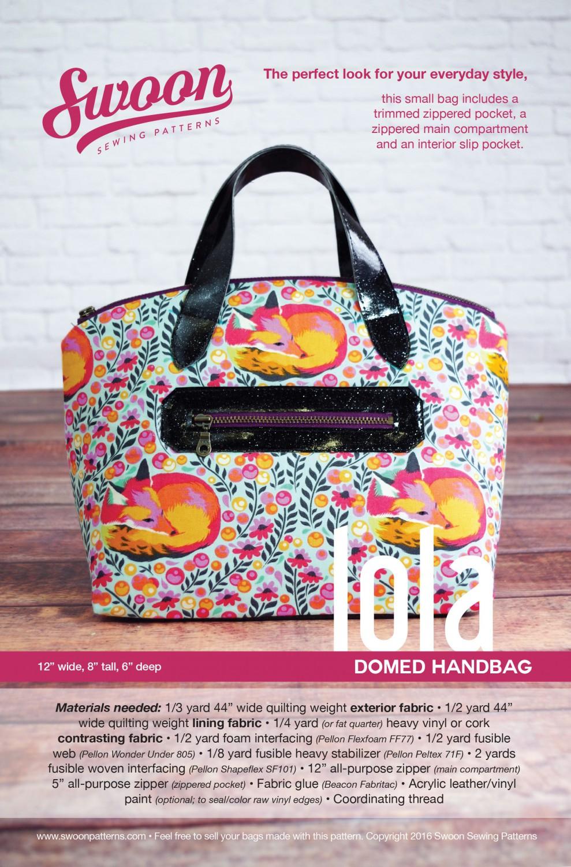 Lola Domed Handbag- Swoon Sewing Patterns