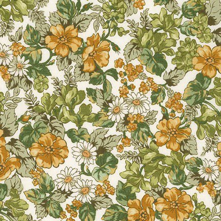 1/2 YARD- London Calling 6- Cotton Lawn- Robert Kaufman- Bouquet- Olive
