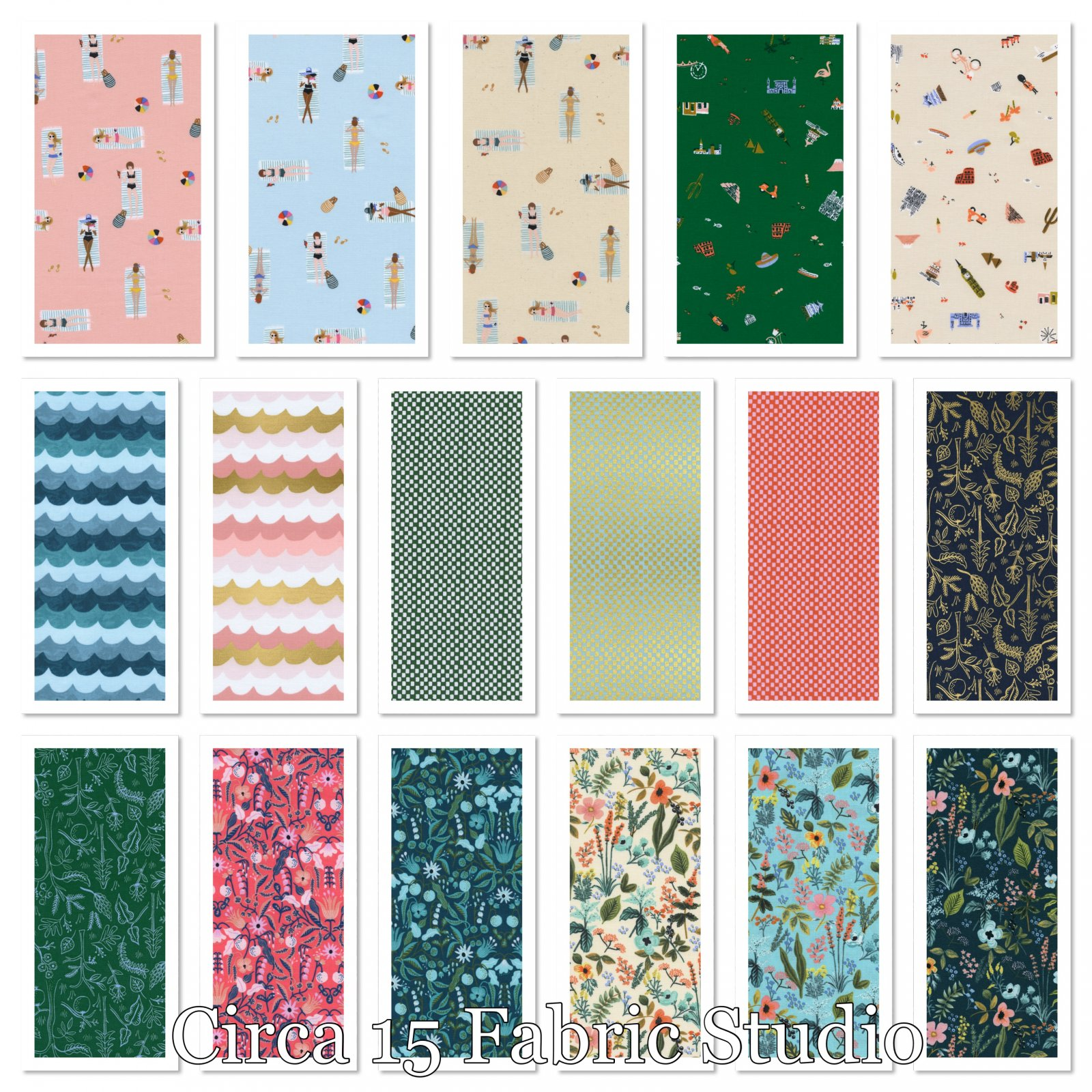 Amalfi- FAT QUARTER Bundle- 17 FQs- Rifle Paper Co.- Cotton + Steel