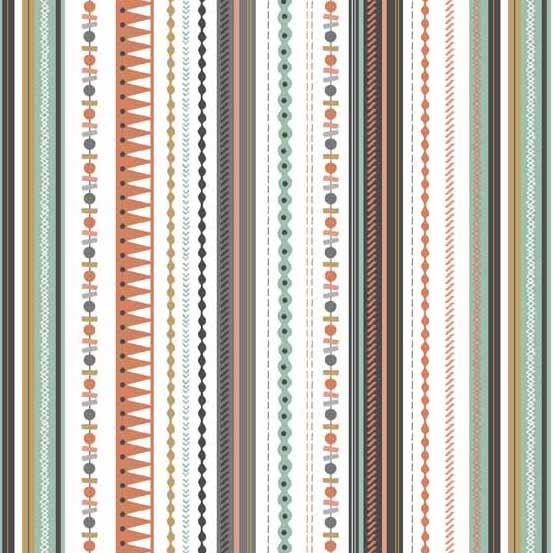 Modern Metallic Christmas- Stripe- Silver- Makower UK/Andover Fabrics