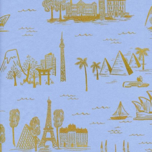 Les Fleurs- Rifle Paper Co.- Cotton Lawn- City Toile- Pale Blue Metallic