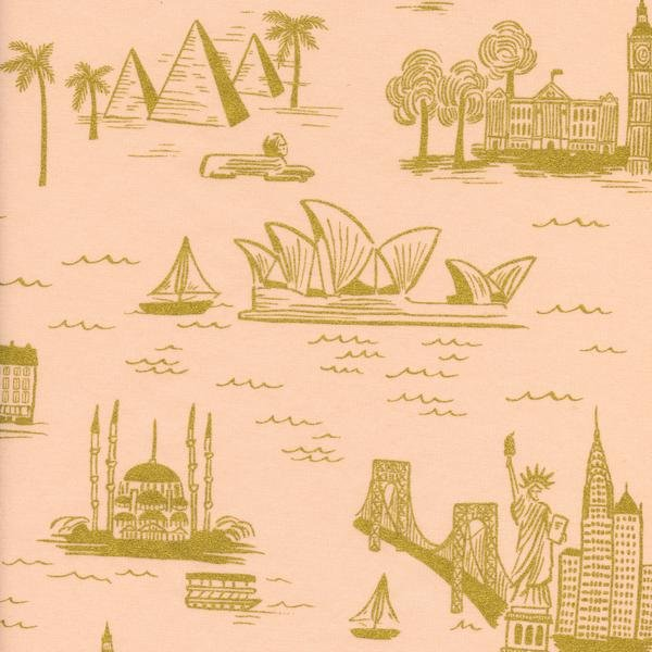 Les Fleurs- Rifle Paper Co.- Cotton Lawn- City Toile- Peach Metallic