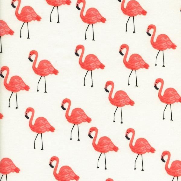Les Fleurs- Rifle Paper Co.- Cotton Lawn- Flamingos- Ivory