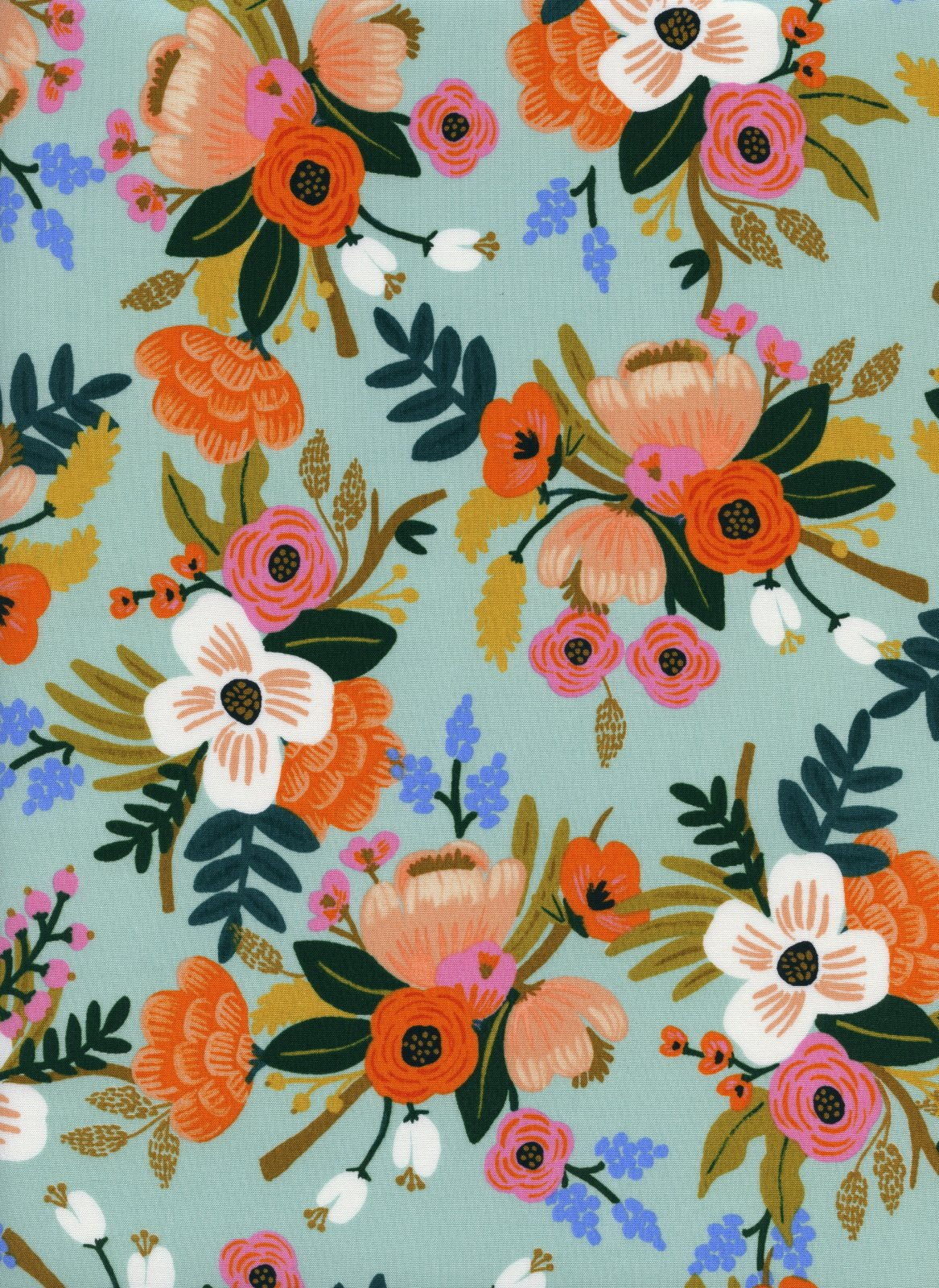 Lively Floral- Mint- Amalfi- RAYON- Rifle Paper Co.- Cotton + Steel