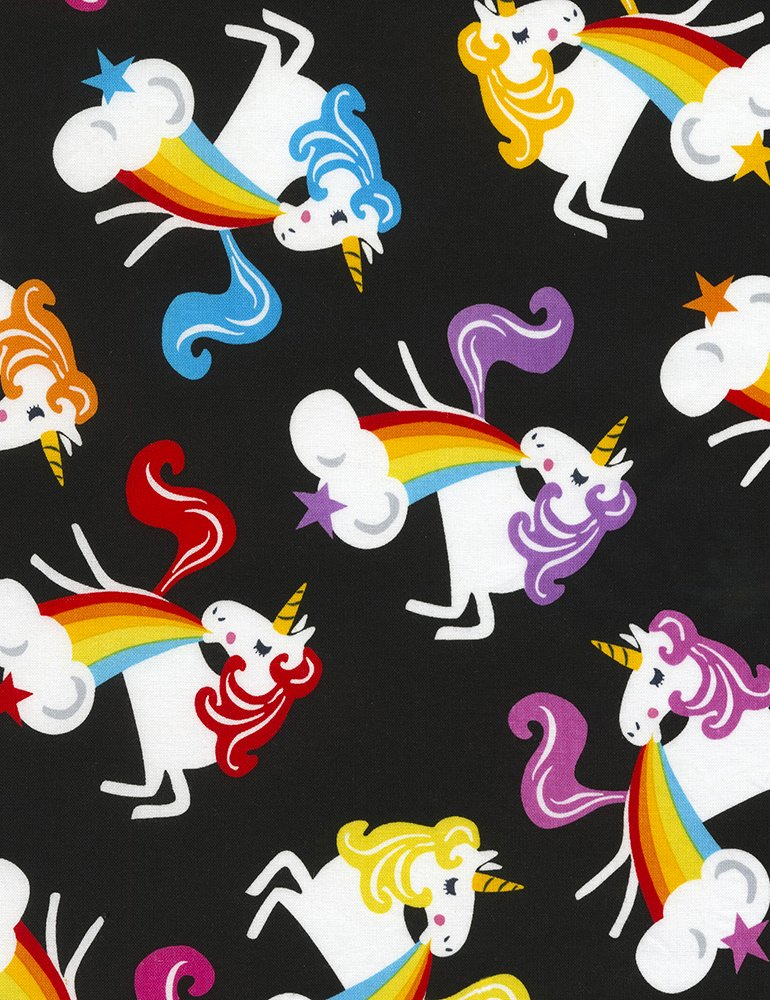 Unicorns Barfing Rainbows- Black- Timeless Treasures