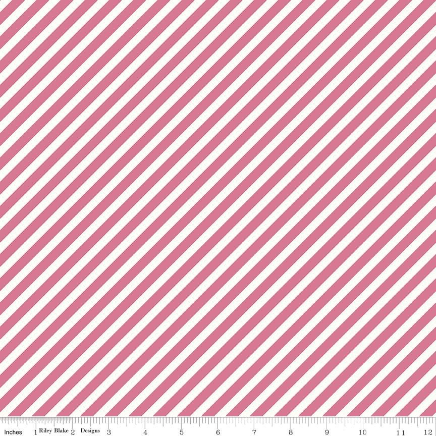 1/3 YARD- On Trend- Stripe- Raspberry- Jen Allyson- Riley Blake