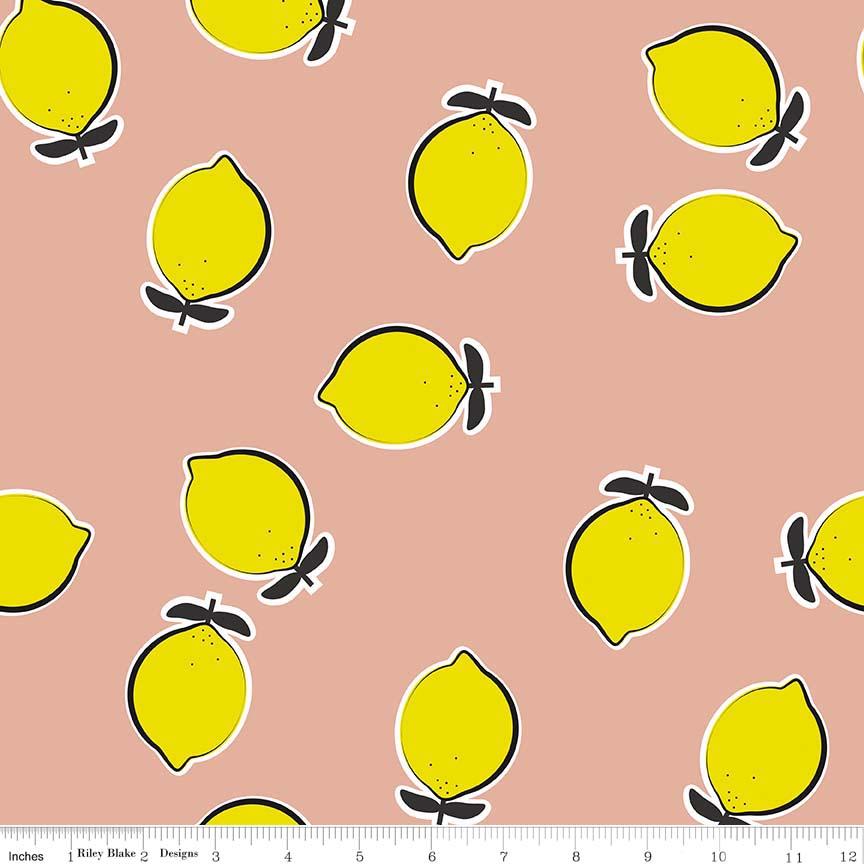 3/4 YARD- Novelty Lemon- Pink