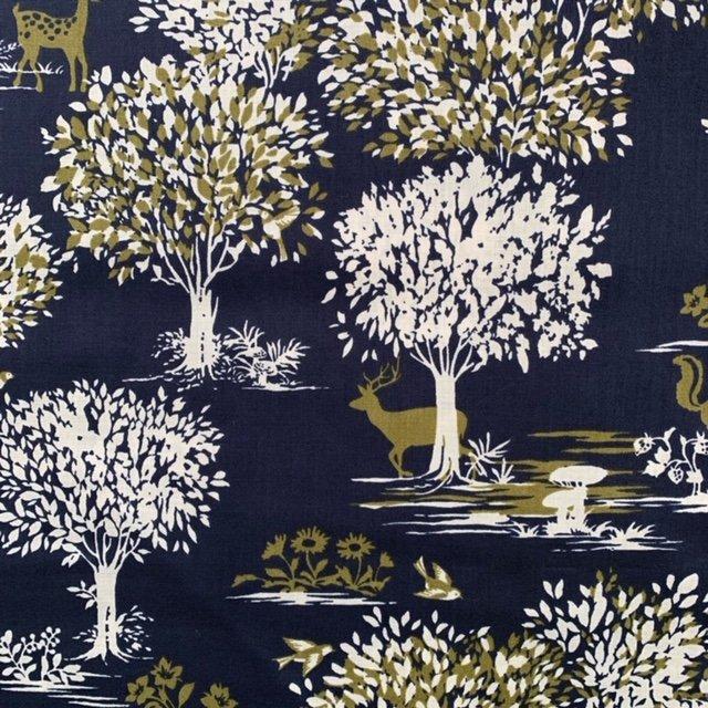 Wonder Forest- Hokkoh- Japanese Cotton Lawn- Woodland- Navy