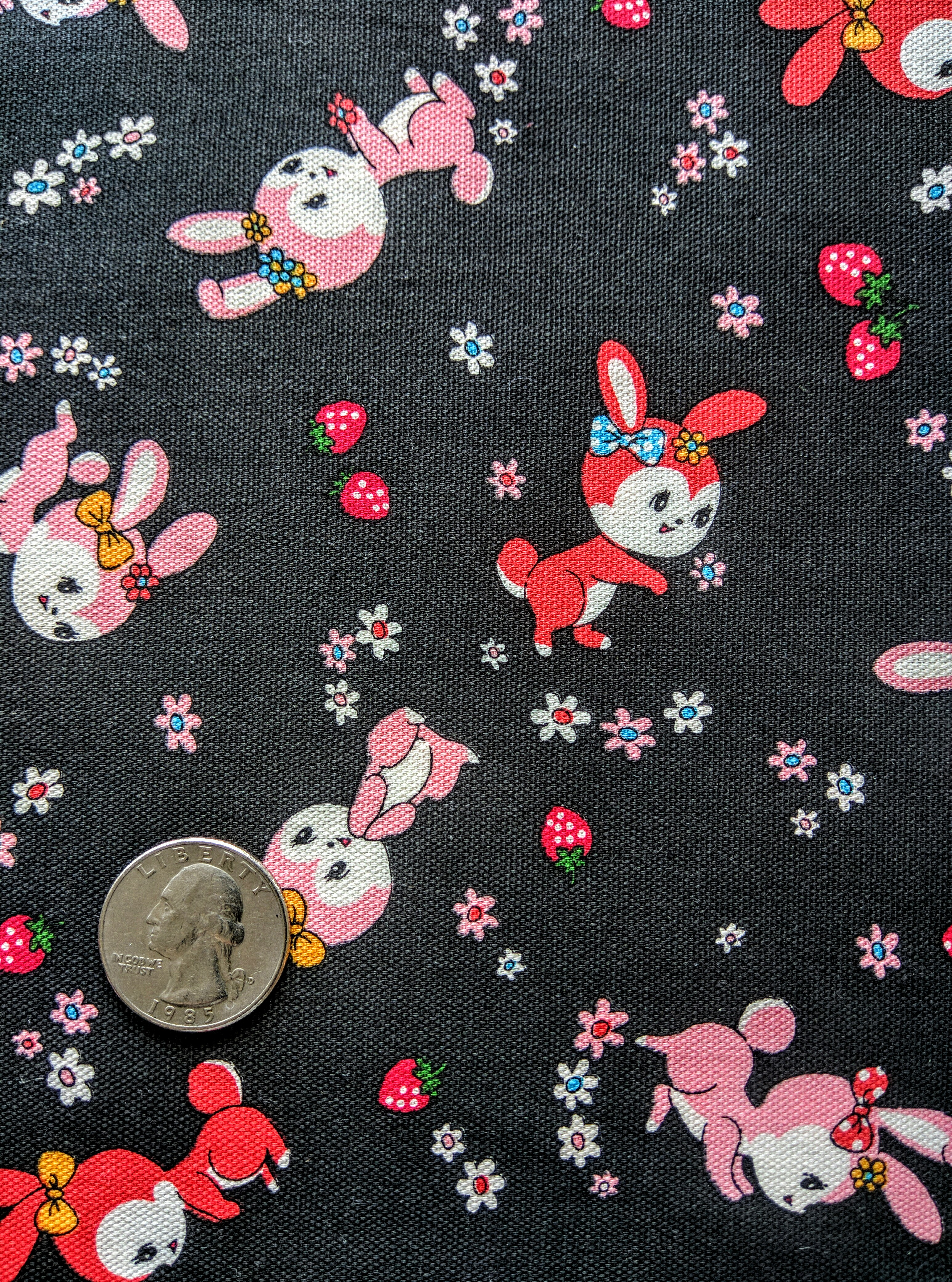 5/8 YARD- 30's Collection- Yuwa- Bunnies- Black- Lightweight Canvas