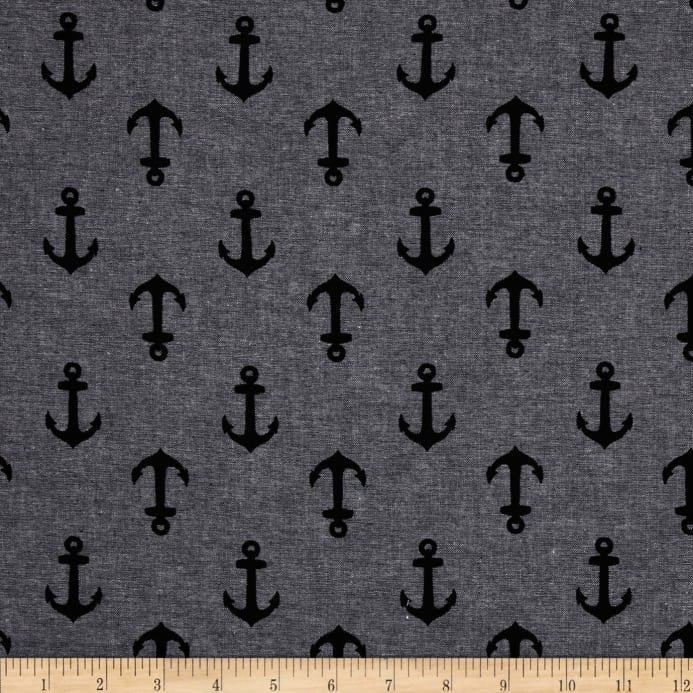 Nautique Chambray- Robert Kaufman- Anchors - Black