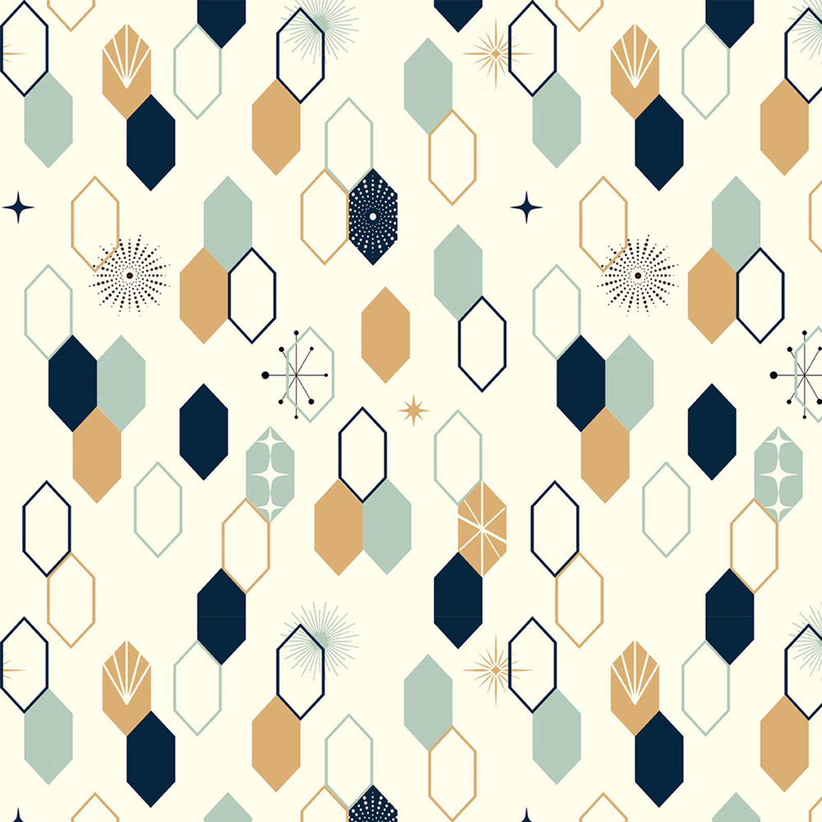 1/2 YARD- Mod Nouveau- Oblong Hex- Mint- Jay-Cyn- Birch Fabrics- Organic Cotton
