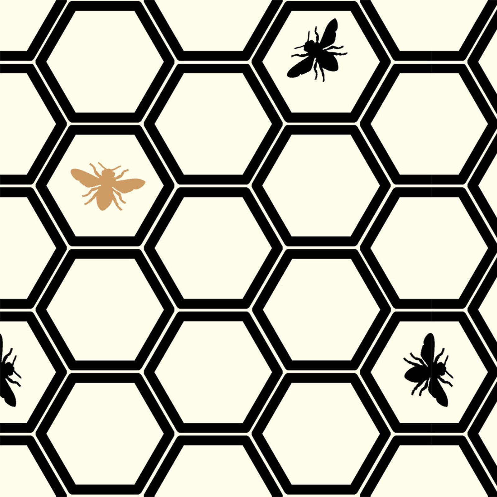 Inkwell- Honeycomb-  CANVAS Black Metallic- Jay-Cyn- Birch Fabrics