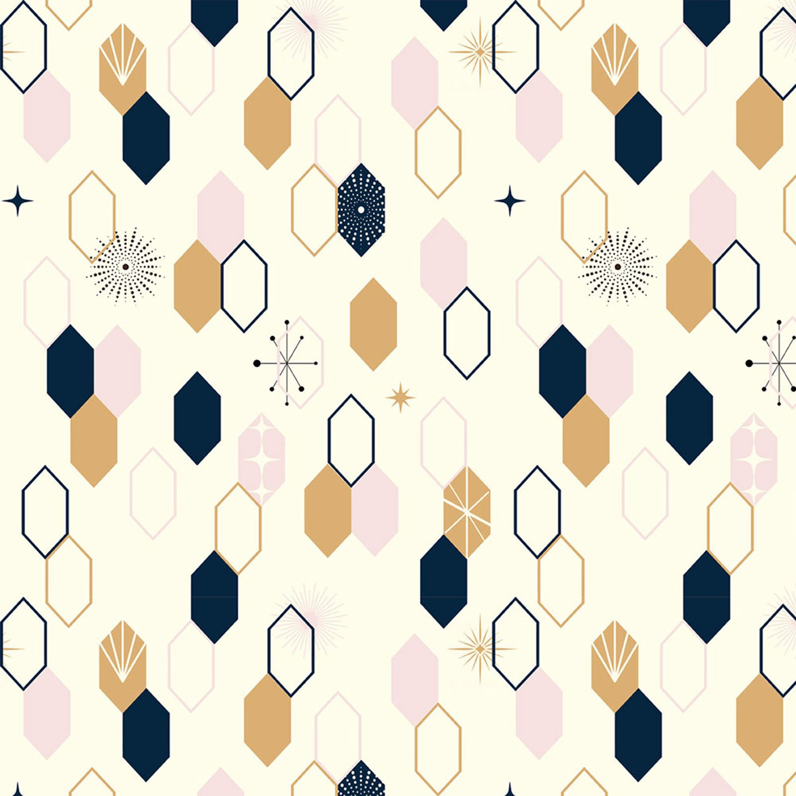 Mod Nouveau- Oblong Hex- Blush- Jay-Cyn- Birch Fabrics- Organic Cotton