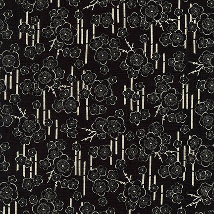 1 7/8 YARD- Nara Homespun- Bamboo- Black- Robert Kaufman