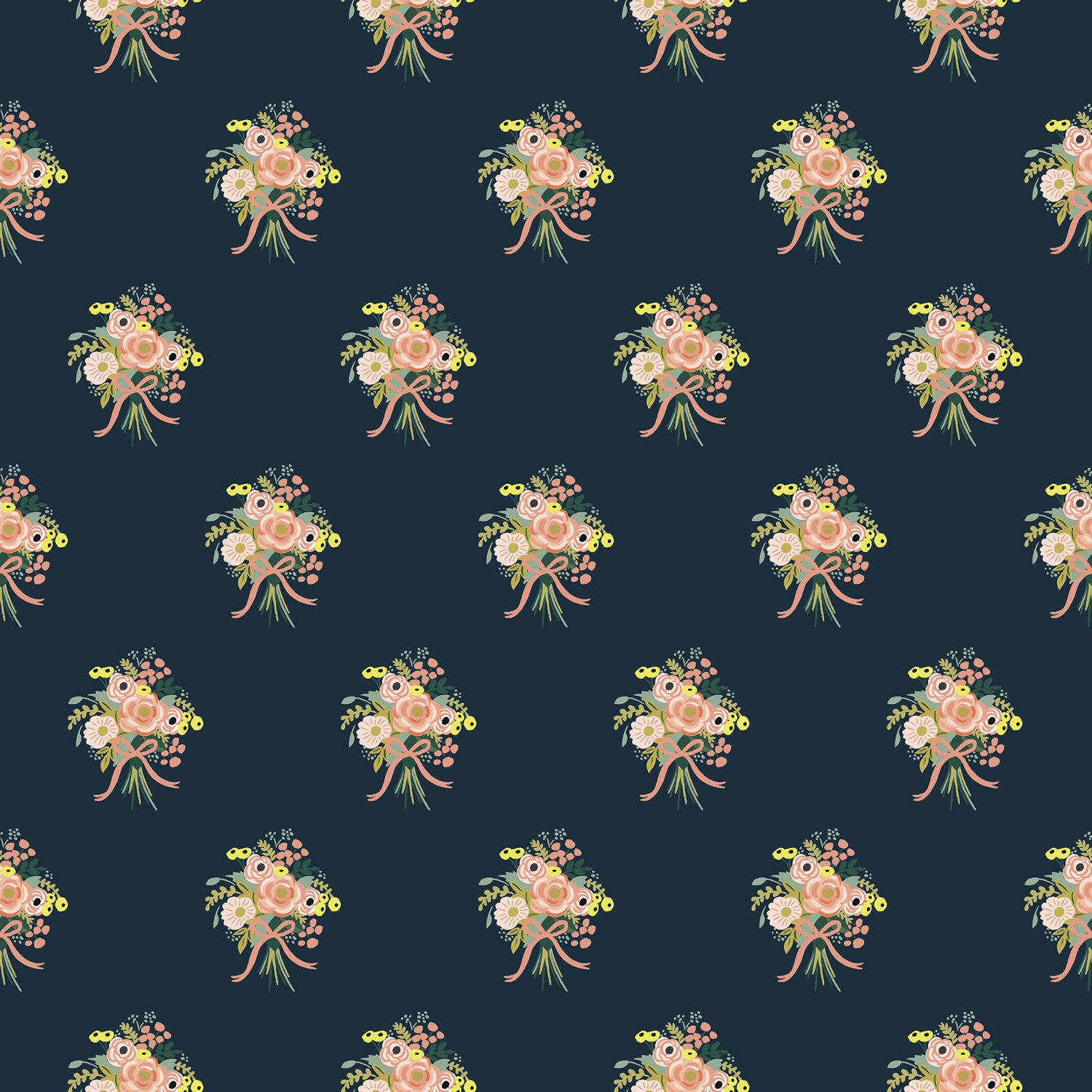 English Garden- Bouquets- Navy- Rifle Paper Co- Cotton + Steel