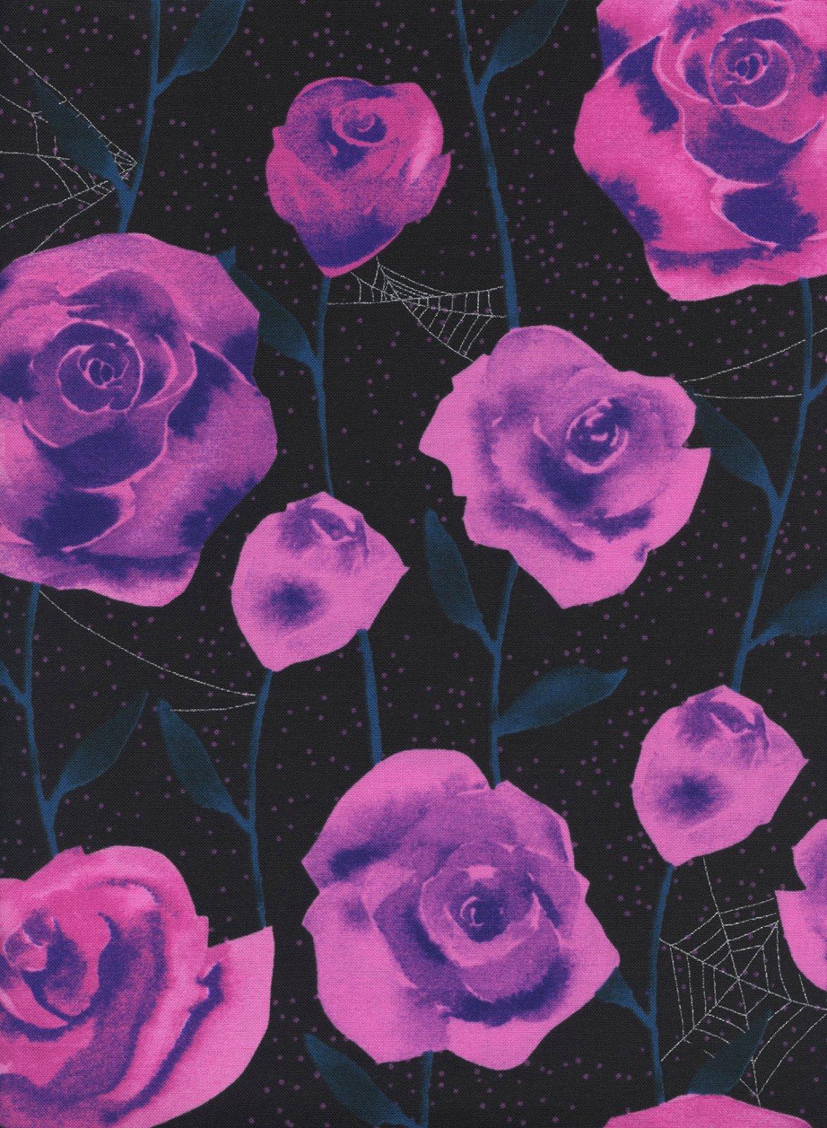 Eclipse- Roses- Black Metallic- Sarah Watts- Cotton + Steel
