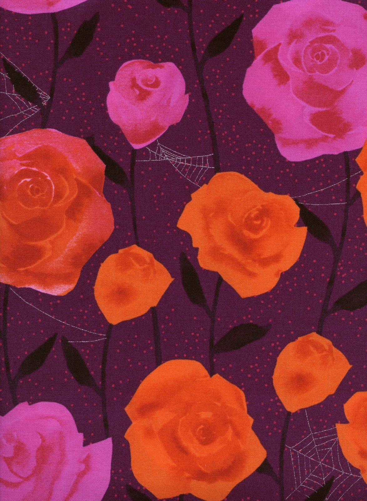 Eclipse- Roses- Wine Metallic- Sarah Watts- Cotton + Steel