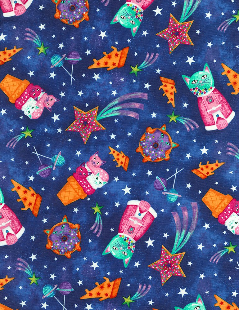 2 3/4 YARDS- Sweet Space Cats- Timeless Treasures