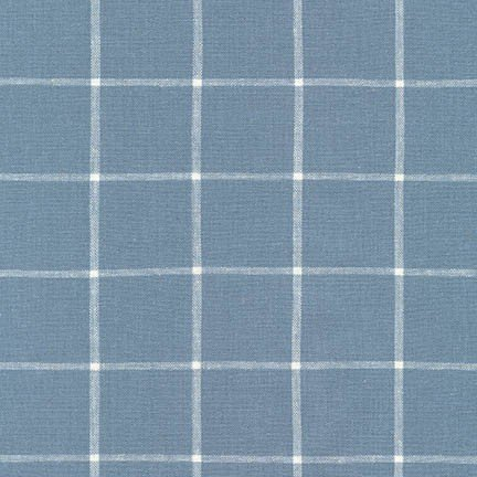 Essex Yarn Dyed Classic Wovens- Windowpane- Chambray- Robert Kaufman