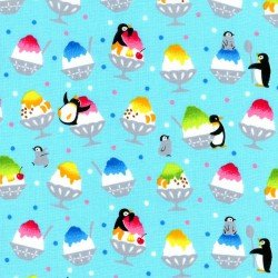 1 3/8 YARDS- Penguins and Shave Ice- Blue- Japanese Import