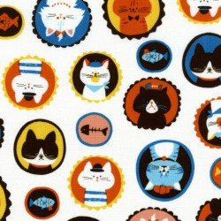 1 3/8 YARD- Cat Faces- White- Japanese Import