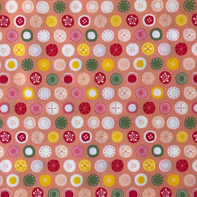 2 YARDS- Tiny World Circles - Peach - Cosmo
