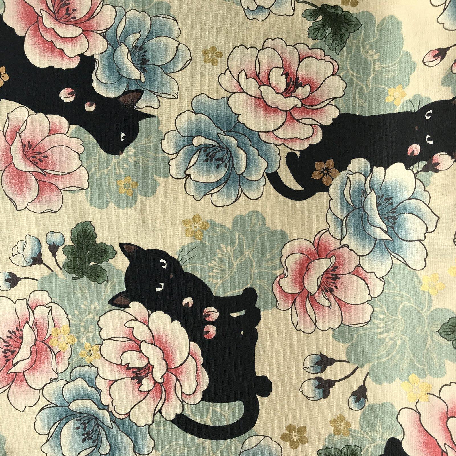 Neko- Hyakka Ryoran- Quilt Gate- Large Kitty Floral- Cream