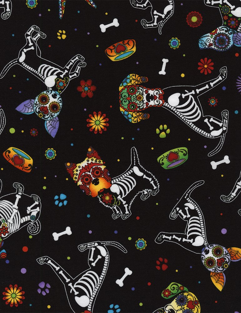 Day of the Dead Dogs- Black- Timeless Treasures