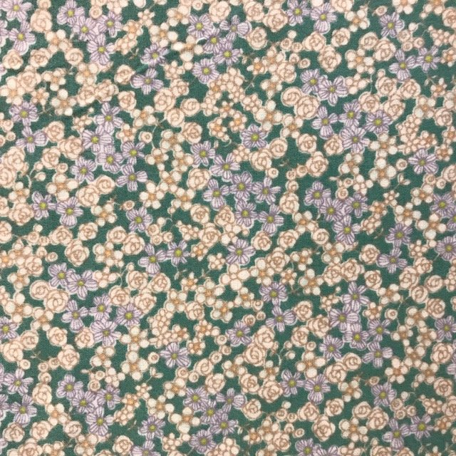 Small Floral- Cosmo- Brushed Cotton- Green