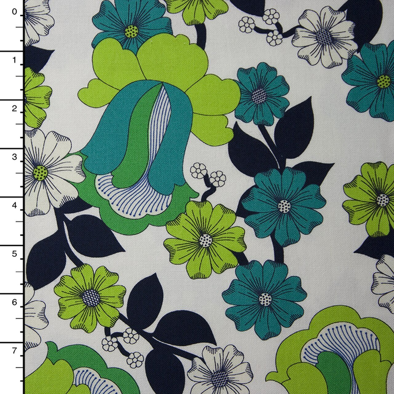 1 2/3 YARDS- Auntie's Attic Canvas- Robert Kaufman- Floral Bloom- Green