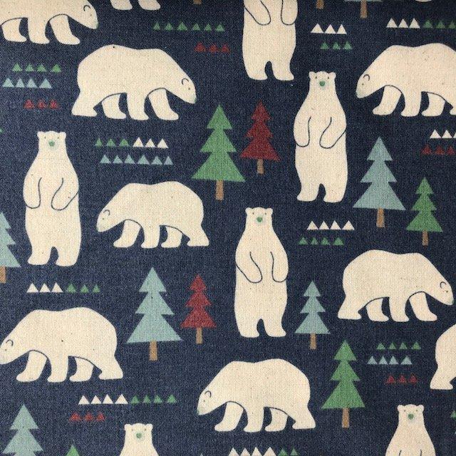 1/2 YARD- Kokka Polar Bears- Brushed Cotton- Blue