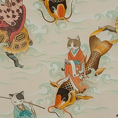 Feline Fisherman- Tea- Alexander Henry