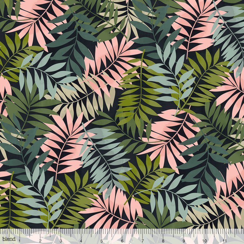 Leilani- Fern Leaves- Black- Maude Asbury- Blend Fabrics