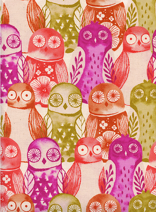Firelight- Wise Owls- Fuchsia- Sarah Watts- Cotton + Steel