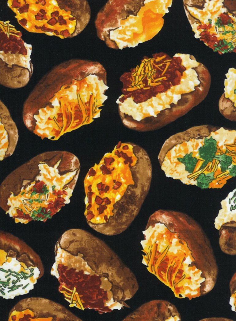 1 1/2 YARD- Loaded Baked Potatoes- Black- Timeless Treasures