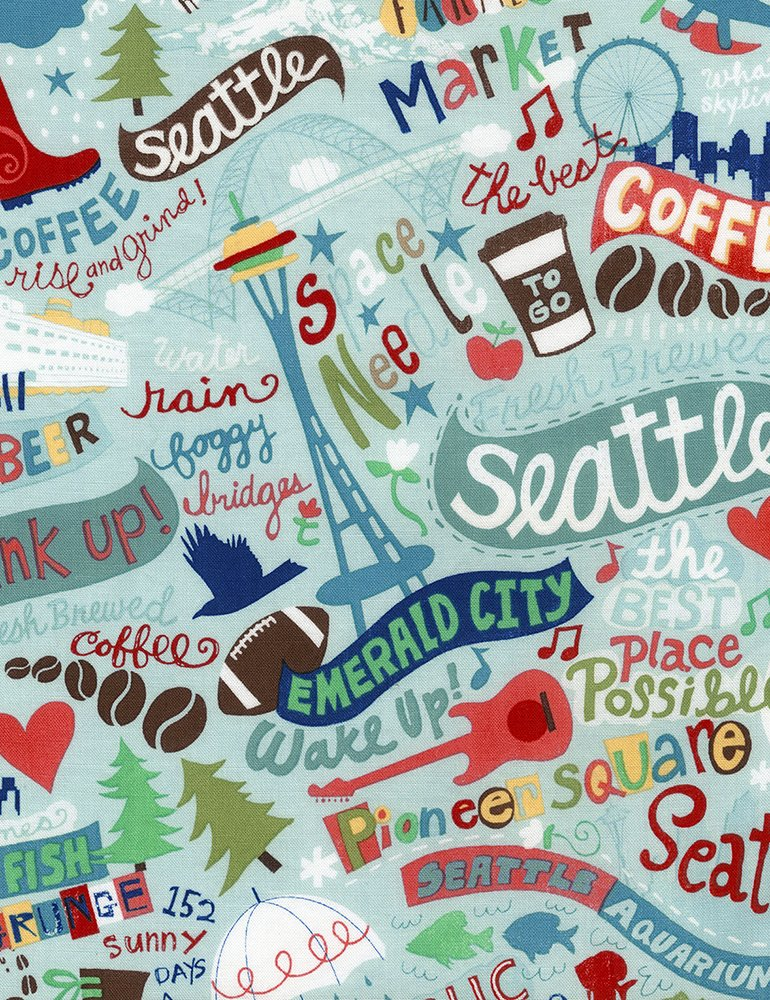 3/4 YARD- Seattle Fabric- Rain- Timeless Treasures