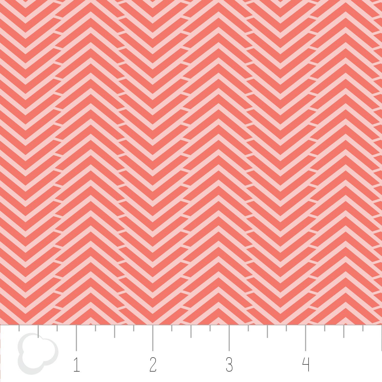 3/4 YARD- Mixology - Herringbone - Grapefruit - Camelot Fabrics